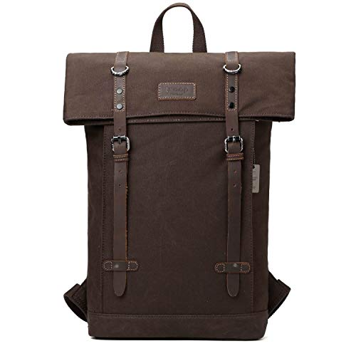 TRP0425 Troop London Heritage Canvas Leather Laptop Backpack Up To 15.6 Inch, Smart Casual Daypack with Foldable Top ║ H45 x W37 x D13 cm-Dark Brown