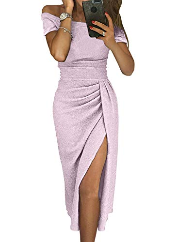 Sexy Prom Cocktail Sequin Dresses Party for Womens Formal Wedding Evening Gowns Metallic Short Sleeve Elegant Dress X-Large Purple