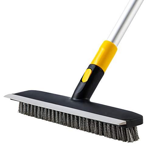Yocada Floor Scrub Brush 55.9' Telescopic Handle 2 in 1 Scrape brush Stiff Bristle Shower Scrubber for Cleaning Patio Bathroom Garage Kitchen Wall Deck Tub Tile