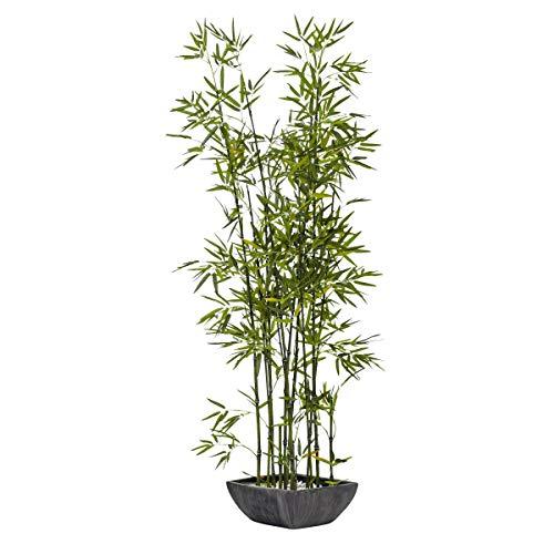 Pureday Kunstpflanze Bambus - mit schwarzem Übertopf aus Terrakotta - täuschend echt - 150 cm