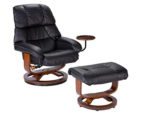 2pc Bonded Leather Recliner and Ottoman - Black - Aiden Lane