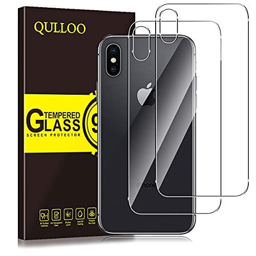 QULLOO Protector de Pantalla para iPhone X/iPhone XS Protector de Pantalla Trasera de Vidrio, Productos de Singularity de Cobertura Completa Anti-Huellas Reemplazo de Carcasa para iphoneX/XS