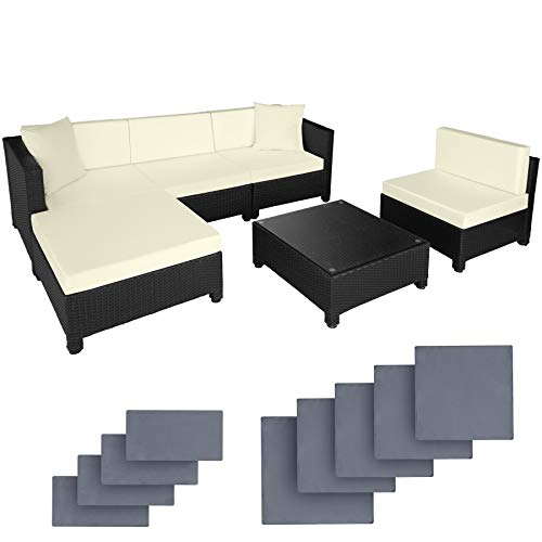 TecTake rattan aluminium garden furniture sofa set outdoor wicker + 2 sets for exchanging the upholstery, stainless steel screws (Black)