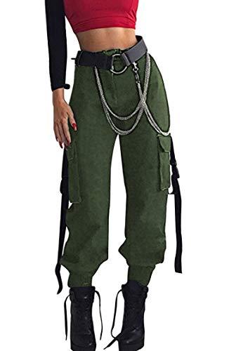 Pantalon Cargo Mujer Bolsillos Solido Vintage Chandal Pantalone Largo Verano Baggy Hip Hop Danza Harem Pants Leggins Deporte Cintura Alta Casual Outdoor Swag Pantalones de Trecking Running Streetwear