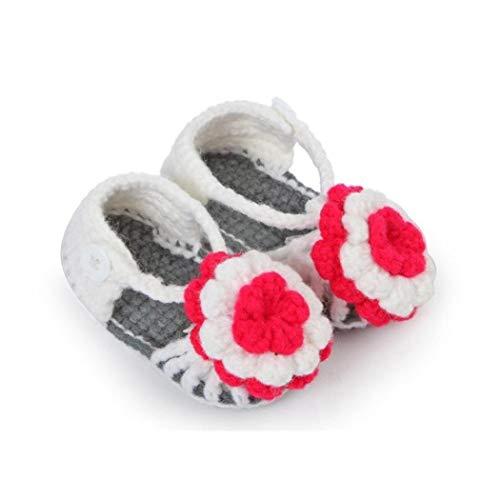 Voberry Baby Newborn Infant Girls Crochet Knit Socks Crib Sandals Shoes Prewalker (gray)