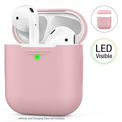 AhaStyle AirPods Hülle Silikon  Front-LED Sichtbar] Kompatibel mit Apple AirPods 2 & 1 (2019) (Ohne Karabiner, Rosa)