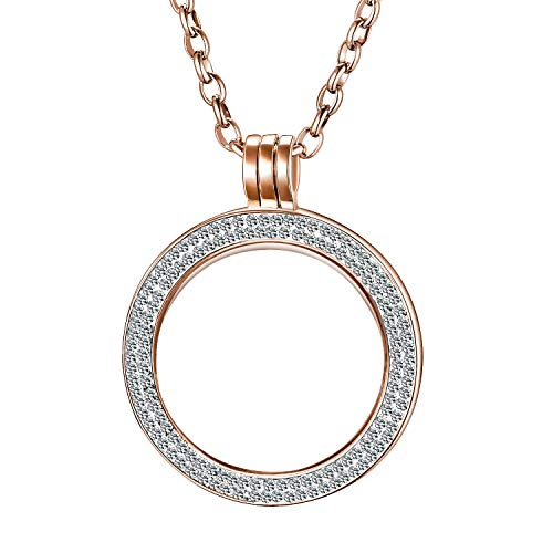 Morella Damen Halskette 70 cm Edelstahl mit Schmuckmünze Zirkonia Coin Anhänger 33 mm Rosegold