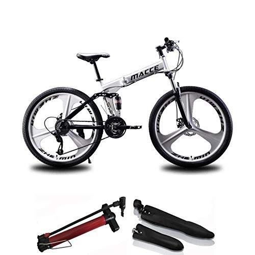 Mountainbike 26 Zoll Bike Faltrad Fahrrad Klapprad Unisex Student, Rahmen Aus Kohlenstoffstahl, 21 Geschwindigkeit, Stoßdämpfung, Sicherheits Brems System, Für Zur Schule Gehen Und Arbeiten-Weiß