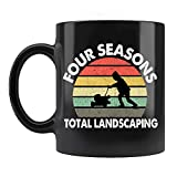Four Seasons Total Landscaping Mug, Funny Vintage Trump Black Ceramic Coffee Mugs