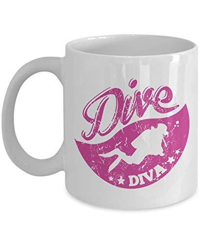 Dive Diva - Buceo 11Oz. Taza de cafe de ceramica - Regalo de buzo