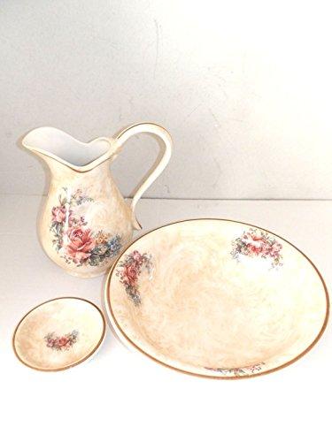 Arterameferro Set de toilette pour lavabo en céramique Toscane 3 pièces avec roses, crêne, pichet