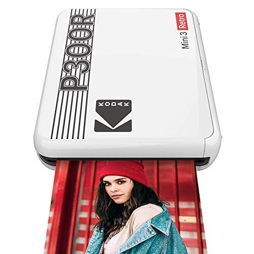 コダック(Kodak) Mini 3 レトロ ポータブル インスタントフォトプリンター&チェキプリンター ワイヤレス接続 iOS/Android/Bluetooth対応 実物の写真(3x3インチ/7.6x7.6cm) 4Passテクノロジー ラミネート加工 ホワイト