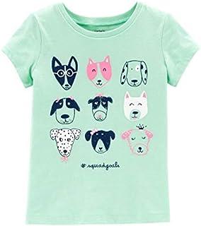 Carter's Girls' 2T-8 Short Sleeve Summer Tees (Mint/Dog Squad, 5T)