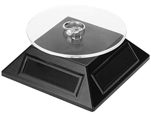 HJQL Soporte De Exhibición De Reloj De Joyería, Vitrina Solar, Bandeja Organizadora De Plataforma Giratoria De 360 Grados (Negro)