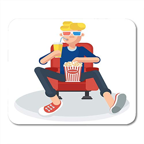 Mouse Pads Young Teen Spectator in Movie Theater Watching Film 3D Glasses It Keeps Holding Popcorn and Drink Flat Mouse Pad for Notebooks,Desktop Computers Office Supplies