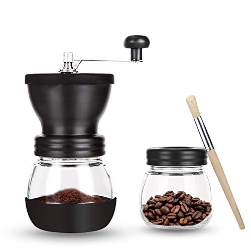 OverTwice Manual Coffee Grinder with Ceramic Burrs Adjustable Hand Coffee Bean Mill with 2 Glass Jars for French Press, Drip Coffee, Espresso, Stainless Steel Handle, Brush