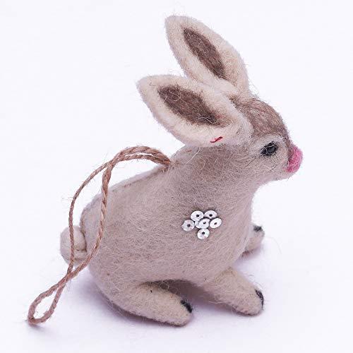 Daddy Shoppe Handmade Needle Felt Hanging Rabbit Toy Easter Gift Ornament Figure