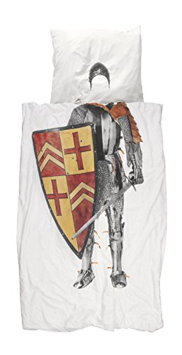 Snurk Bettwäsche Ritter Ritterrüstung Schwert Schild Mittelalter Kinder Perkal 135 cm x 200 cm
