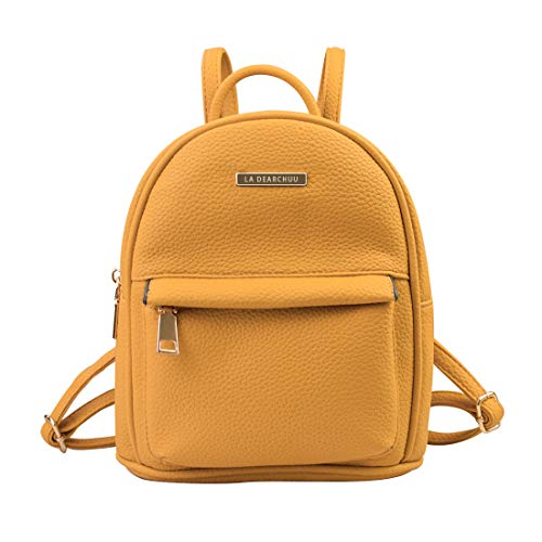 La Dearchuu Small Backpack for Women Pu Leather Mini Backpack Purse, Fashion Mini Daypack Backpack Rucksack Teen Girls w/USB Charging Port, Litchee Pattern Yellow