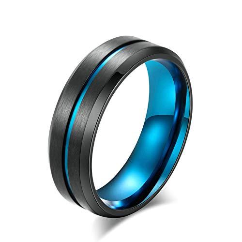 Bishilin Acero Inoxidable Vintage Retro Azul Anillo Cepillado Negro con Línea Azul de 8 Mm Boy Punk Biker Ring Bandas