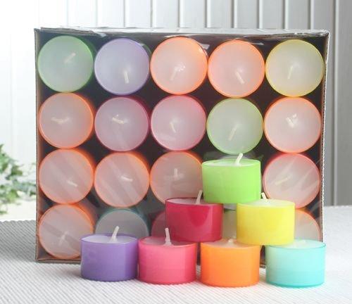 CandleCorner 40 Teelichter - Summerlights, farbige Hülle, 7-8 Std. Brenndauer
