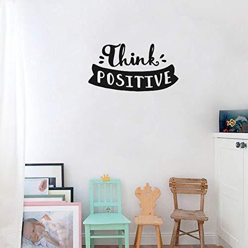 WERWN CelebrityWall Sticker Decal Think Positive Etiqueta de la Pared para la habitación de los niños Aula Cartel Moderno Motivación Sala de Estar Decoración DIY 30 * 57cm