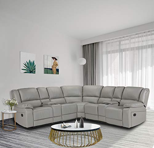 Alapaste Sectional Sofa Motion Sofa for Living Room,Symmertrical Reclining Sectional Sofa, Reclining Corner Sectional Sofa with Cup Holders,Grey Leather