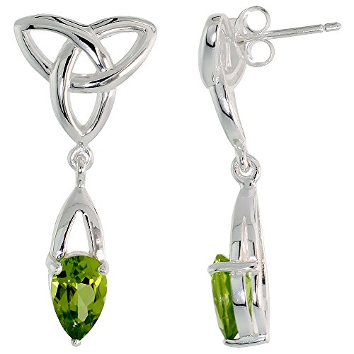 Sterling Silver Peridot Triquetra Earrings Celtic Trinity Knot Dangle Post Flawless Finish, 1 1/4 inch
