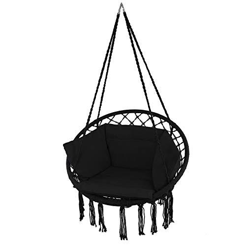 Montafox Fotel wiszący bocianie gniazdo kosz z poduszką siedzisko dla dzieci i dorosłych, Kolor:Antracyt