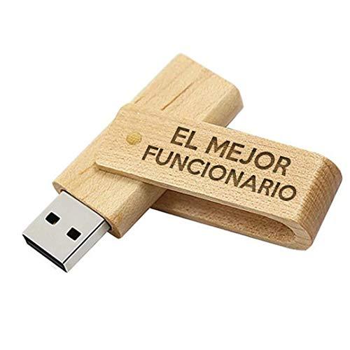 Memoria USB el Mejor Funcionario del Mundo - Pendrive 16GB Madera Natural Flashdrive USB Regalo