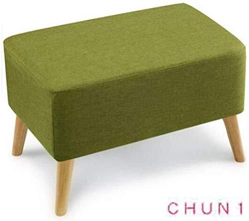 CHU N1 Hocker, Removable Linen Massivholz-Legs Schuhmöbel Tischchen Hocker 60cm × 40cm × 40cm (L × B × H) 128 (Size : Green)