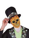Rubies- Mascara calavera de lujo para hombre, Color naranja, Talla única (Rubie's Spain S3189)