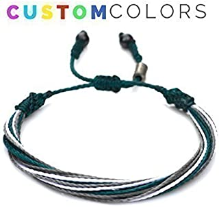 RUMI SUMAQ Custom String Bracelet for College, University, High School, Sports Team or Country Flag - Customized Colors and Sizes Nylon Cord Sports Fan Gift