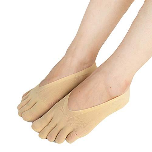 Aoliao, Calzini ortopedici a compressione da donna, per dita dei piedi, a taglio ultra basso con linguetta in gel, traspiranti