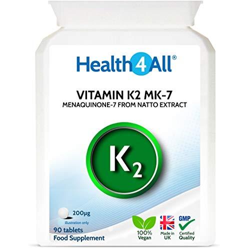 Vitamin K2 MK7 200mcg 90 Tablets (V) Natural MK-7 from natto Fermentation. Vegan High Strength Tablets (not Capsules) from Health4All