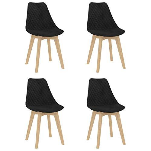Tidyard Sillas de Comedor 4 Unidades Sillas para Cocina Salon Moderno Terciopelo Negro 49 x 57 x 82 cm