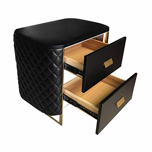 HOUSEHOLD Double drawer locker bedside shelf, bedside storage locker, multifunctional coffee table, strong and durable coffee table, free installation, used in office, dormitory