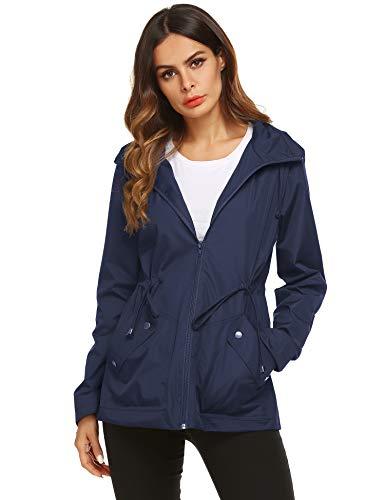ZHENWEI Sport Raincoat,Women Ultralight Breathable Quick-Dry Rain Jacket(Navy Blue,L)