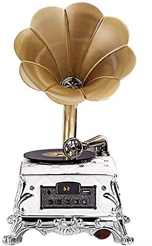 FGDFGDG Altavoz Bluetooth Retro, Tocadiscos Retro con Control Remoto de Altavoces inalámbricos, Estilo fonógrafo para Tocadiscos de decoración del hogar 2021,Plata