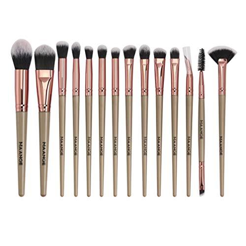 Solustre Pinceaux de Maquillage 14Pcs Poignée en Plastique Brosses Cosmétiques Pinceaux de Maquillage Professionnels Définir des Outils de Beauté (Doré)