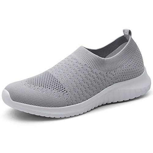 LANCROP Women's Lightweight Walking Shoes - Casual Breathable Mesh Slip on Sneakers 7.5 US, Label 38 Grey