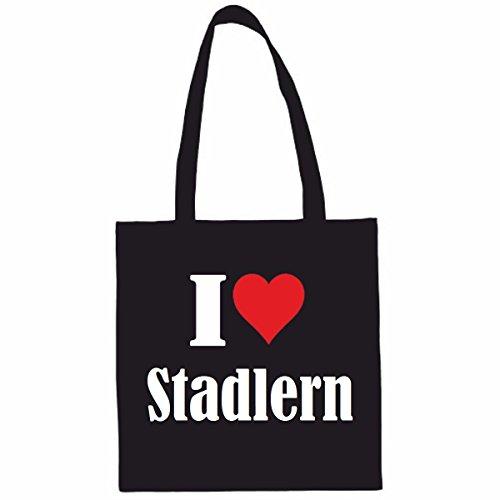 Tasche I Love Stadlern Größe 38x42 Farbe Schwarz Druck Weiss