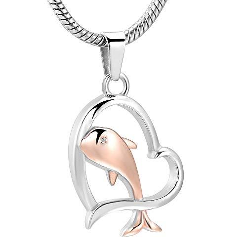 YXYSHX Collar de Delfines en Forma de corazón de Acero Inoxidable para Perros y Gatos-Plata
