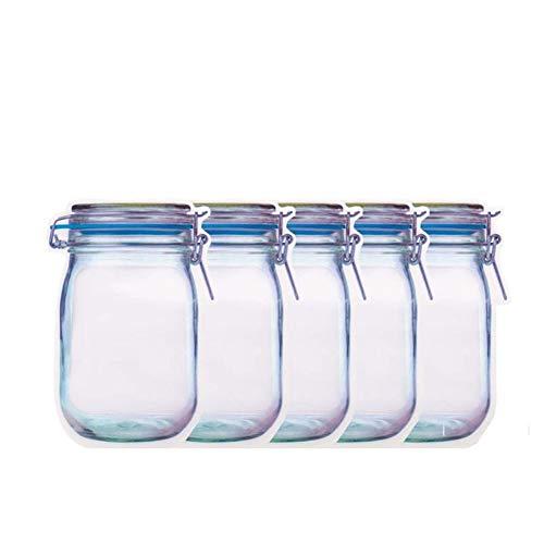 Bolsas Reutilizables Portátil Zipper Bolsas De Cierre Del Ahorrador Del Alimento Almacenamiento Bolsas De Aperitivos Sandwich Bolsas Zip-Lock #, (Color : Blue, Size : 5pcs)