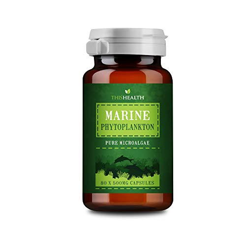Marine Phytoplankton Powder 80 x 500mg Capsules – Marine Omega 3 Supplement – Pure Microalgae Phytoplankton Supplement – Suitable for Vegans and Vegetarians