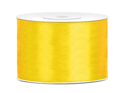 Satinband Dekoband 50 mm breit (gelb) Geschenkband Schleifen bilden