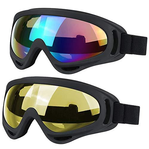JTENG Occhiali da Sci Snowboard Confezioni di Occhiali da Sci per Uomo, Donna, con UV400, per l'Equitazione,Slitta Protezione,Antivento,Antiriflesso Lenti e Antipolvere(Multicolore/Giallo)
