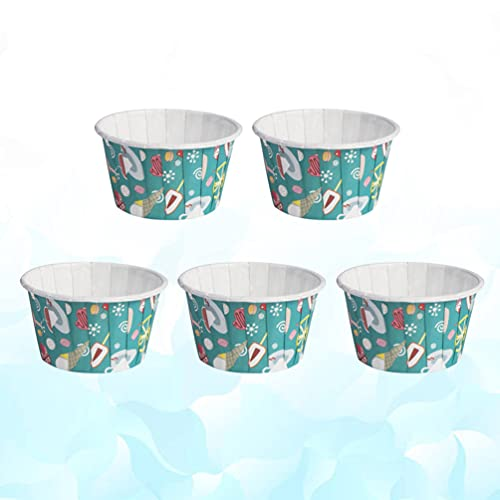 Cabilock 100pcs Cartoon Paper Cupcake Cups Disposable Dessert Bowls Heat- resistant Muffin Cup Party Supplies Sundae Frozen Yogurt Soup