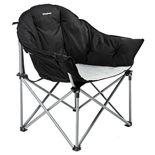 KingCamp Sofa Chair Oversize Padded Reclining Folding Heavy Duty Deluxe Portable Stable for Camping, Hiking, Carry Bag Included, Black, One Size