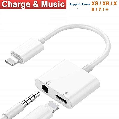 Headphone Adapter for iPhone Adapter Charger Adapter 3.5mm Jack Dongle Earphone Aux Audio & Charge Compatible for iPhone7/7P/8/8P/X/XR/XS Support to Music and Charge Suitable for iOS11-12.1 System